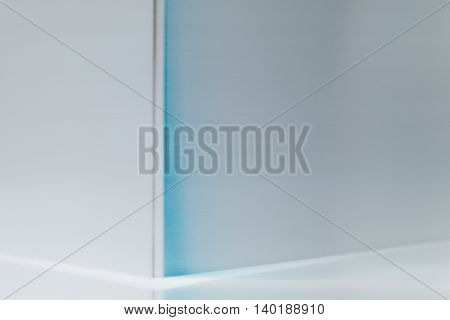 Aluminium counter corner close up background in horizontal 3:2 format.