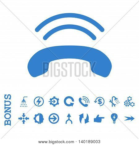 Phone Ring vector icon. Image style is a flat pictogram symbol, cobalt color, white background.