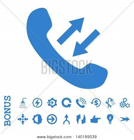 Phone Talking vector icon. Image style is a flat pictogram symbol, cobalt color, white background.