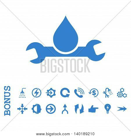 Plumbing vector icon. Image style is a flat pictogram symbol, cobalt color, white background.