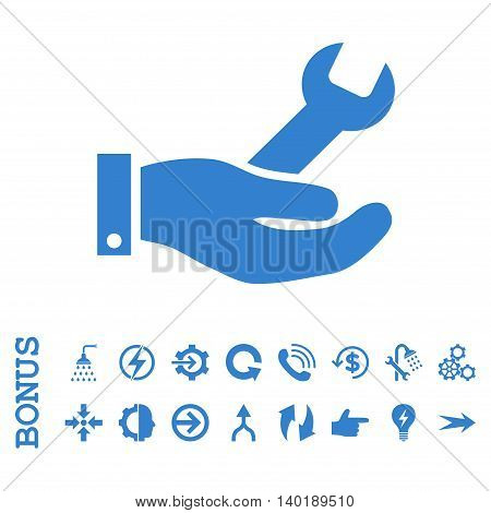 Repair Service vector icon. Image style is a flat pictogram symbol, cobalt color, white background.