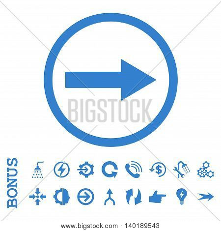 Right Rounded Arrow vector icon. Image style is a flat pictogram symbol, cobalt color, white background.