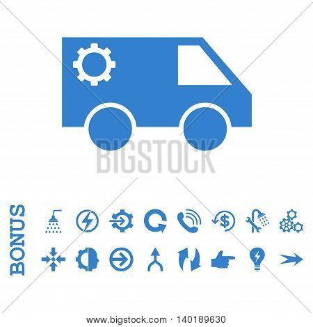 Service Car vector icon. Image style is a flat iconic symbol, cobalt color, white background.