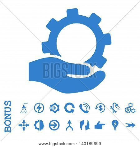 Service vector icon. Image style is a flat iconic symbol, cobalt color, white background.
