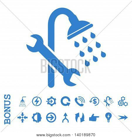 Shower Plumbing vector icon. Image style is a flat iconic symbol, cobalt color, white background.