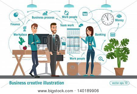 Business Creative Illustration. Women And Man. Businessman Character Office Worker People Profession