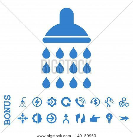 Shower vector icon. Image style is a flat iconic symbol, cobalt color, white background.