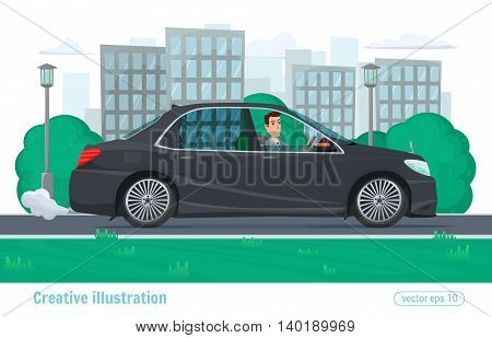 Successful Businessman Man Rides Through The City On Prestigious Car Business Class Black. Vector Il