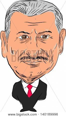 July 27, 2016: Caricature illustration of Binali Yıldırım ,Turkish politician and 27th Prime Minister of Turkey facing front done in cartoon style.