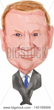 July 27, 2016: Water color caricature illustration of Donald Franciszek Tusk Polish politician and the President of the European Council viewed from front on isolated white background done in cartoon style.
