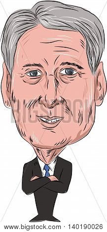 July 27, 2016: Caricature illustration of Philip Anthony Hammond PC MP British Conservative politician and Chancellor of the Exchequer facing front done in cartoon style on isolated background.