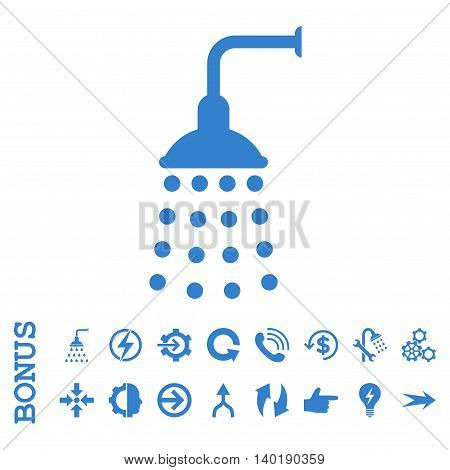 Shower vector icon. Image style is a flat pictogram symbol, cobalt color, white background.