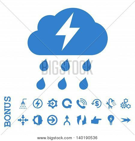 Thunderstorm vector icon. Image style is a flat pictogram symbol, cobalt color, white background.