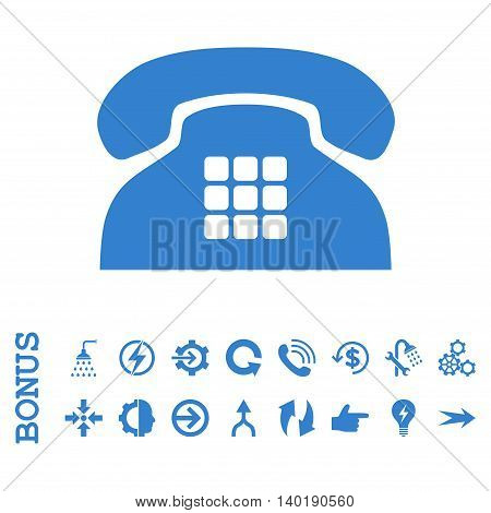 Tone Phone vector icon. Image style is a flat pictogram symbol, cobalt color, white background.