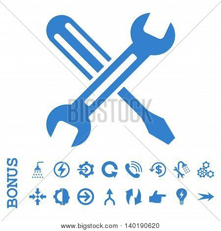 Tuning vector icon. Image style is a flat pictogram symbol, cobalt color, white background.