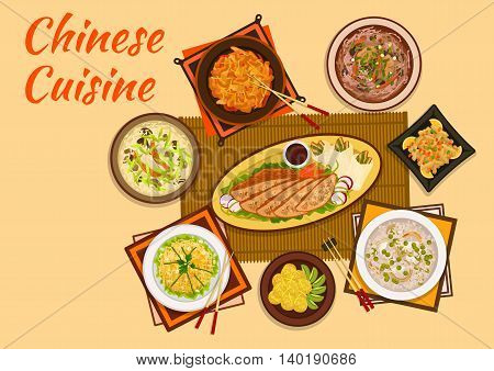 Chinese cuisine sweet and sour pork, peking duck dishes flat icon served with mango noodle salad, rice soup, meat with candied fruit, anise soup, hot and sour soup, sticky rice balls with kiwi fruit