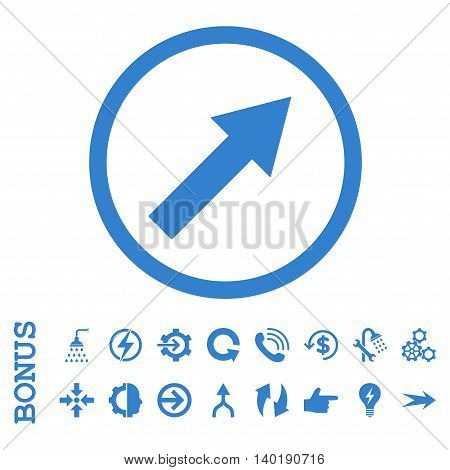 Up-Right Rounded Arrow vector icon. Image style is a flat iconic symbol, cobalt color, white background.