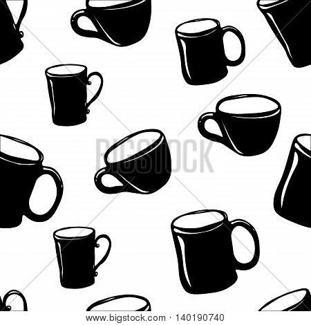 A seamless pattern with black cups on white background