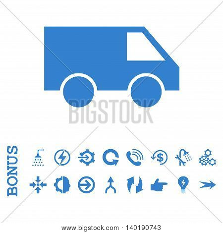 Van vector icon. Image style is a flat iconic symbol, cobalt color, white background.