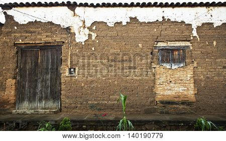 A vintage old wood door on the town of Jalisco Mexico America