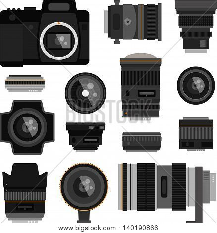 Camera photo optic lenses set on white background. Different types objective equipment, professional look photo optic lenses. Photo optic lenses digital equipment optical technology