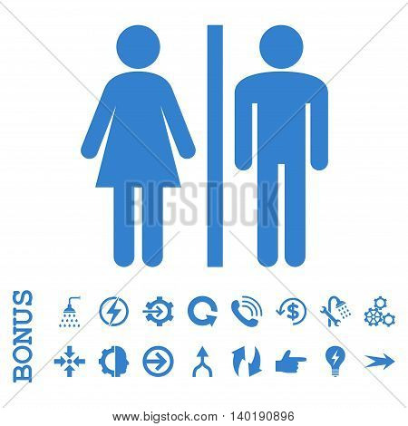 WC Persons vector icon. Image style is a flat pictogram symbol, cobalt color, white background.