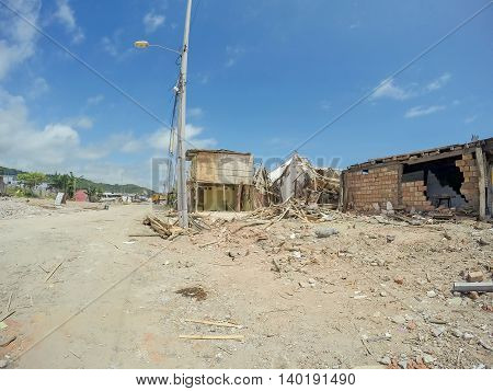 Ecuador Earthquake Occurred On April 16, 2016 Left Abandoned Towns On The Coast, South America