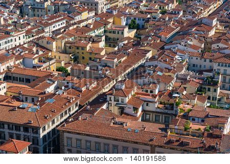 Rooftops of Florence viewed from the dome of the cathedral of Santa Maria in Florence Italy