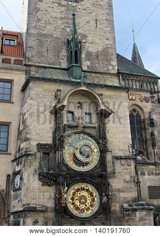 PRAGUE, CZECH REPUBLIC - JUNE 16, 2016: Prague Astronomical Clock or Orloj at the Old Town Hall in Prague