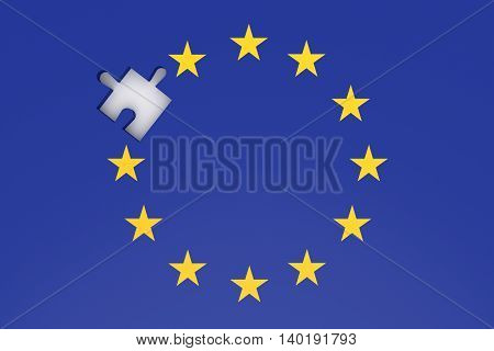 EU crisis: missing puzzle piece in EU flag 3d illustration