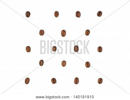 Isolated coffee grains on a white background