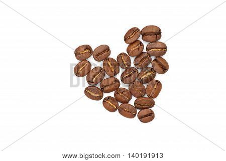 Isolated heart of the coffee grains on white background