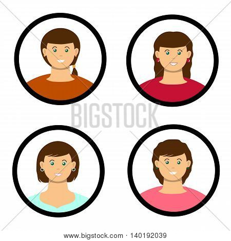 A four flat ladys with diferent hair slyles and clothes