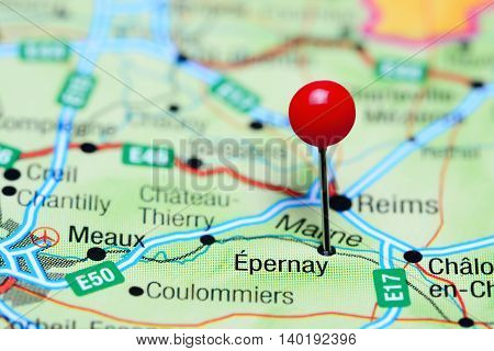Epernay pinned on a map of France