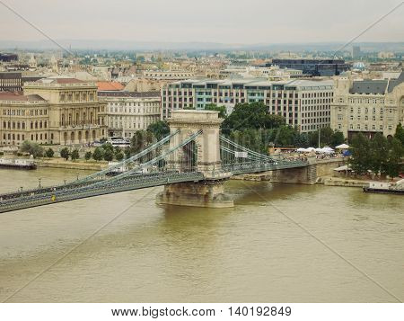 Szechenyi Chain Bridge Is A Suspension Bridge That Spans The River Danube Between Buda And Pest The Western And Eastern Sides Of Budapest The Capital Of Hungary