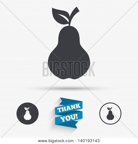 Pear with leaf sign icon. Fruit symbol. Flat icons. Buttons with icons. Thank you ribbon. Vector