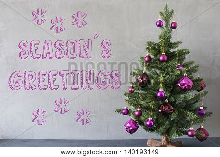 Christmas Tree With Purple Christmas Tree Balls. Card For Seasons Greetings. Gray Cement Or Concrete Wall For Urban, Modern Industrial Styl. English Text Seasons Greetings