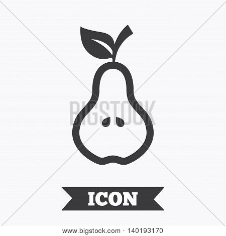 Pear with leaf sign icon. Fruit with seeds symbol. Graphic design element. Flat pear symbol on white background. Vector