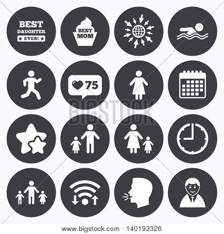 Calendar, wifi and clock symbols. Like counter, stars symbols. People, family icons. Swimming pool, person signs. Best mom, father and mother symbols. Talking head, go to web symbols. Vector