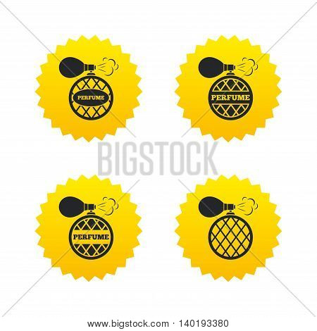 Perfume bottle icons. Glamour fragrance sign symbols. Yellow stars labels with flat icons. Vector