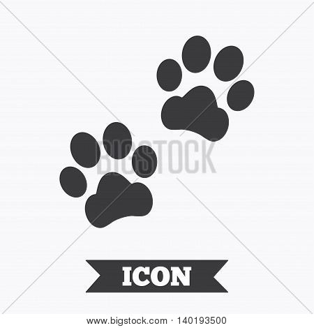 Paw sign icon. Dog pets steps symbol. Graphic design element. Flat paw steps symbol on white background. Vector