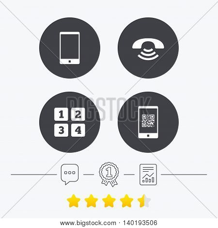 Phone icons. Smartphone with Qr code sign. Call center support symbol. Cellphone keyboard symbol. Chat, award medal and report linear icons. Star vote ranking. Vector
