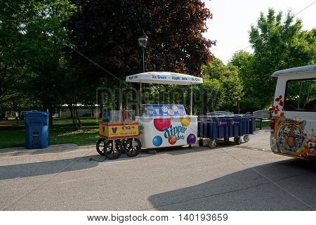 BROOKFIELD, ILLINOIS / UNITED STATES - MAY 21, 2016:  Dippin' Dots ice cream, hot dogs, and carbonated beverages are sold at concession stands in the Brookfield Zoo.
