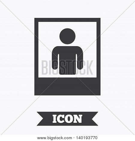 Photo frame template with human selfie sign icon. User portrait photography symbol. Graphic design element. Flat portrait photo symbol on white background. Vector