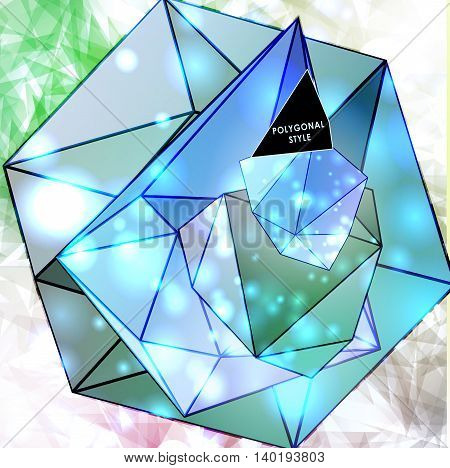 Polygonal cosmic background with quote and labels. Crystal and triangles, low poly illustration