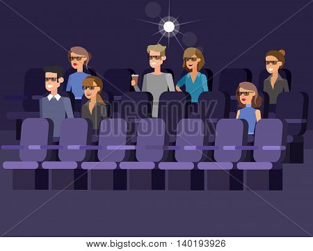 movie poster or banner template, popcorn, 3D glasses, concept banner. Cinema hall. Rest in the cinema. Cute vector character people