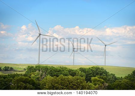 Wind turbines in open field in Kansas