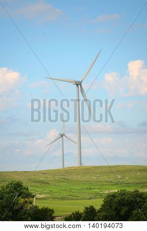Wind turbines during bright clear day