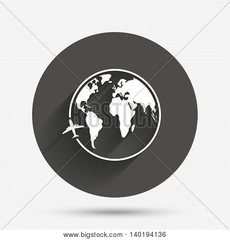 Airplane sign icon. Travel trip round the world symbol. Circle flat button with shadow. Vector
