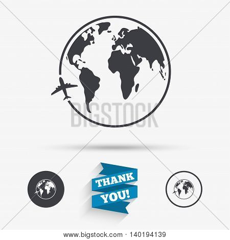 Airplane sign icon. Travel trip round the world symbol. Flat icons. Buttons with icons. Thank you ribbon. Vector